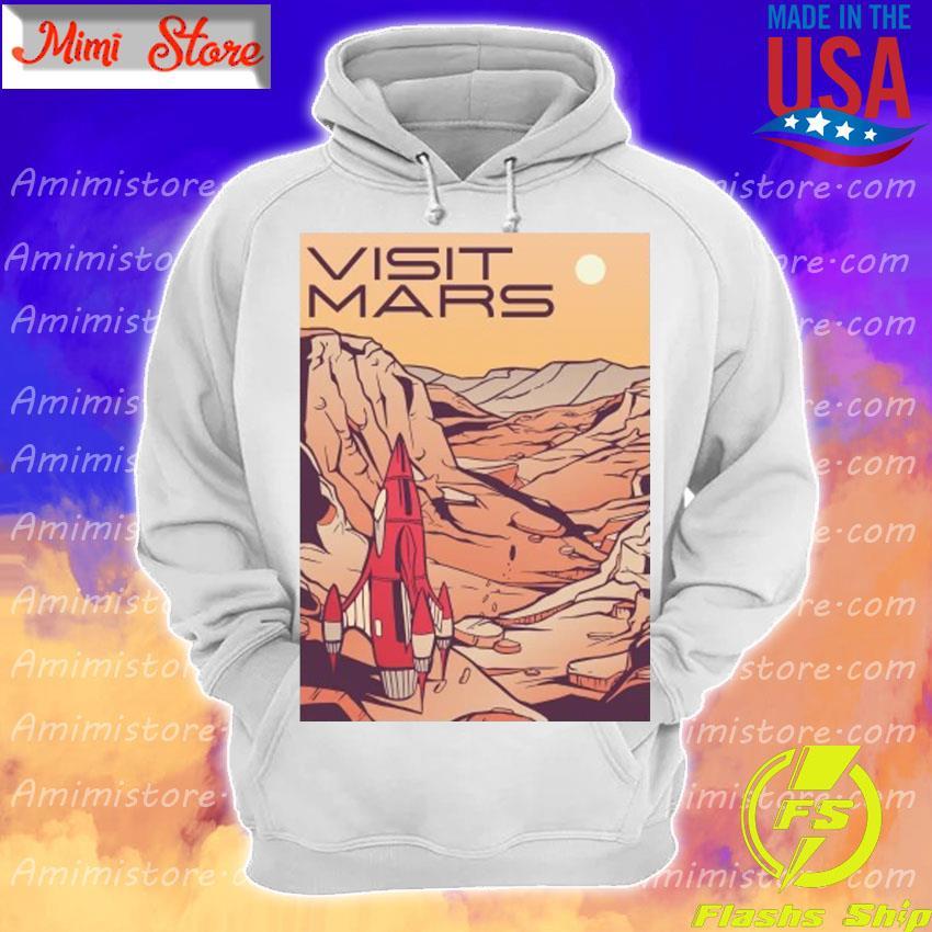 Visit Mars Mars Landscape Retro Travel Hoodie