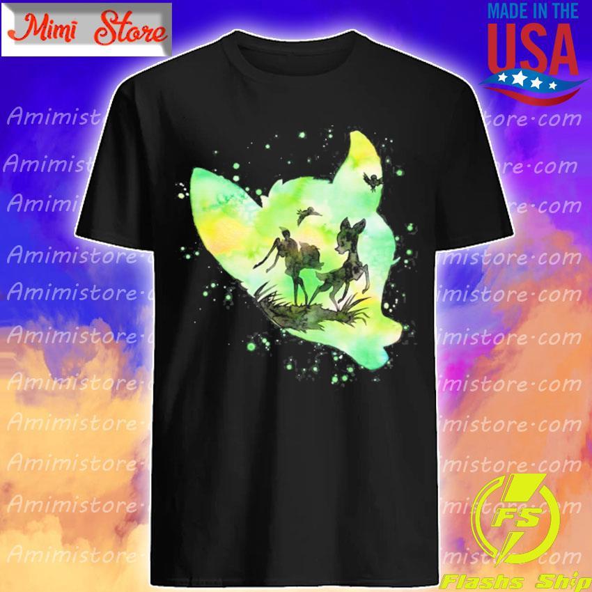 BambI green watercolor silhouette fill shirt