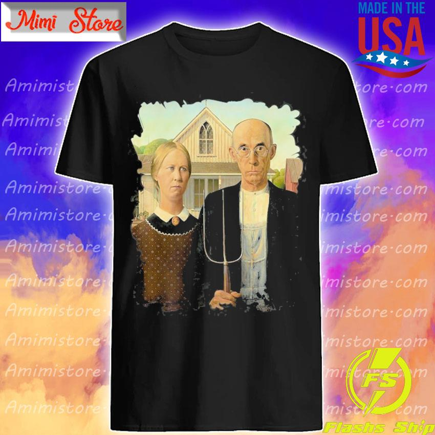Distress American gothic famous painting by grant wood's shirt