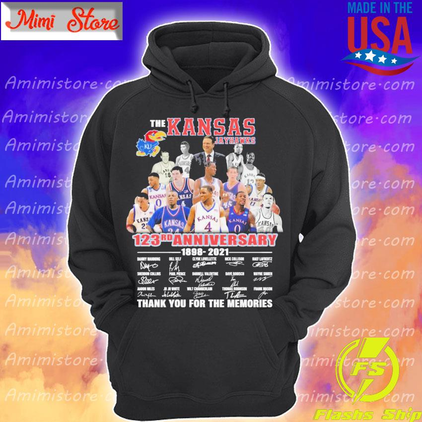 Official The Kansas Jayhawks 123rd Anniversary 1898 2021 signatures thank you Hoodie
