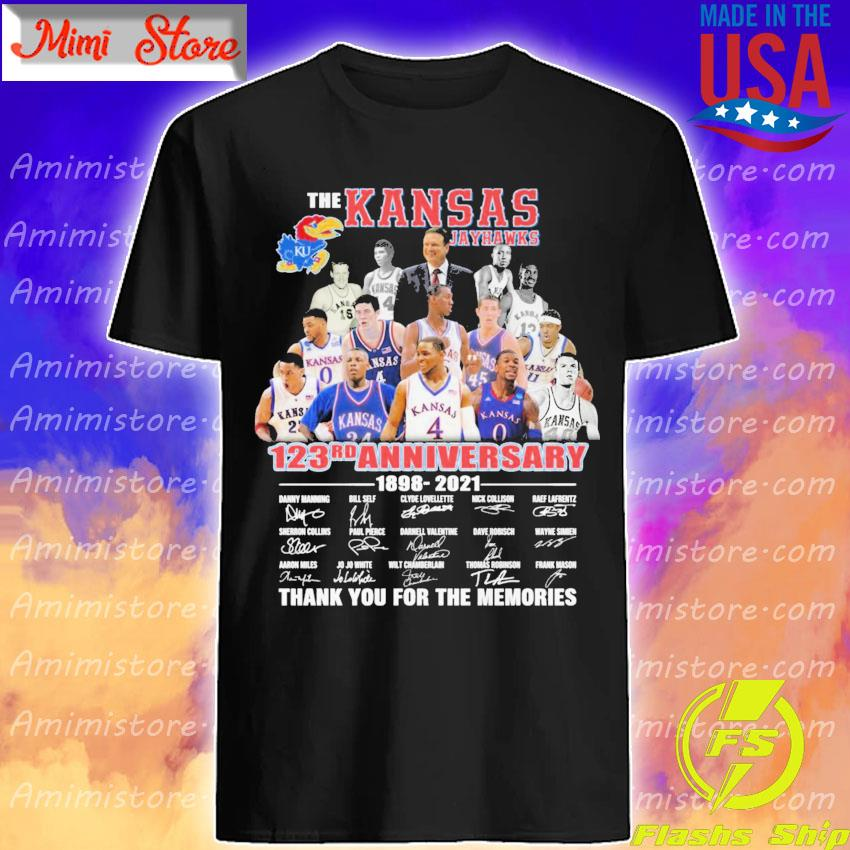 Official The Kansas Jayhawks 123rd Anniversary 1898 2021 signatures thank you shirt