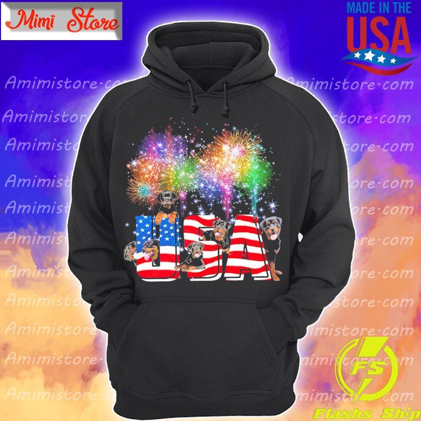 Rottweilers Dog Fireworks USA flag Hoodie