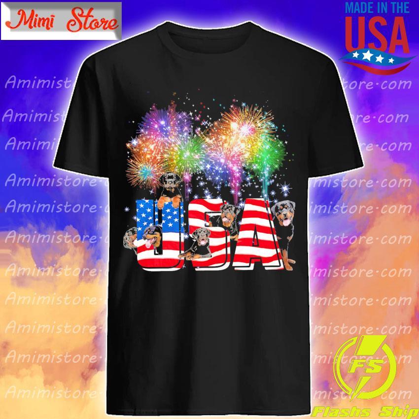 Rottweilers Dog Fireworks USA flag shirt