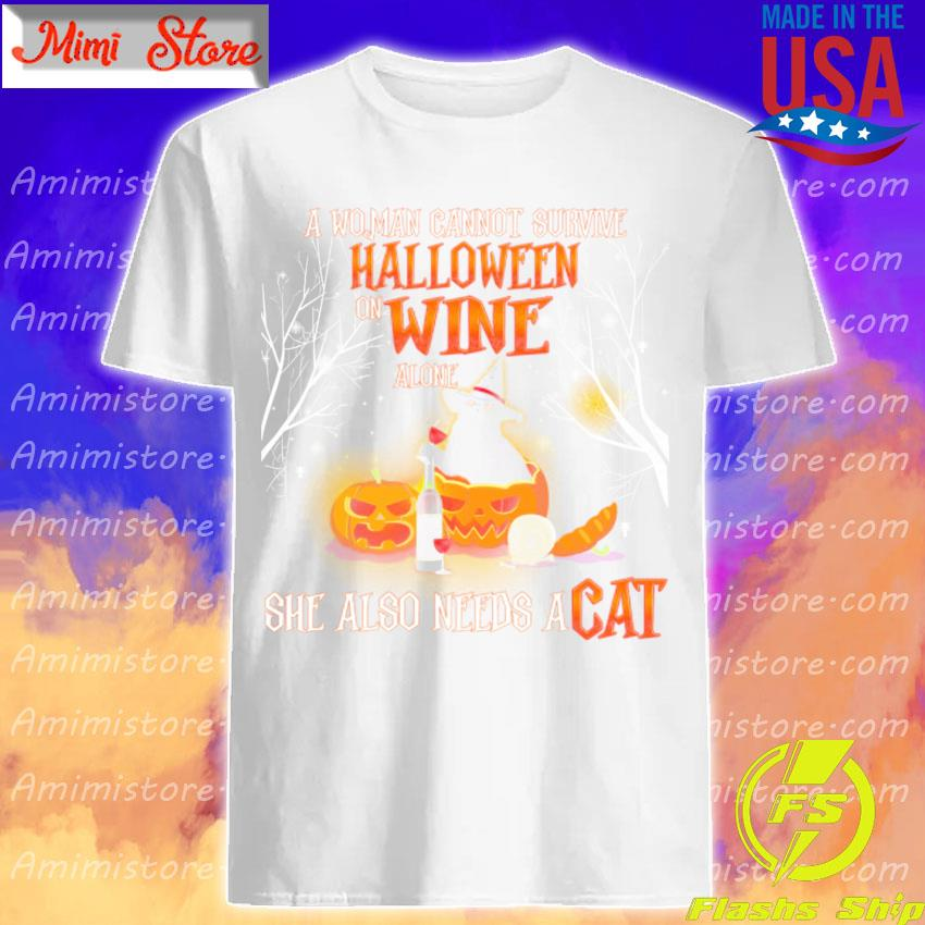 A Woman cannot survive Halloween wine alone she also needs a Cat shirt