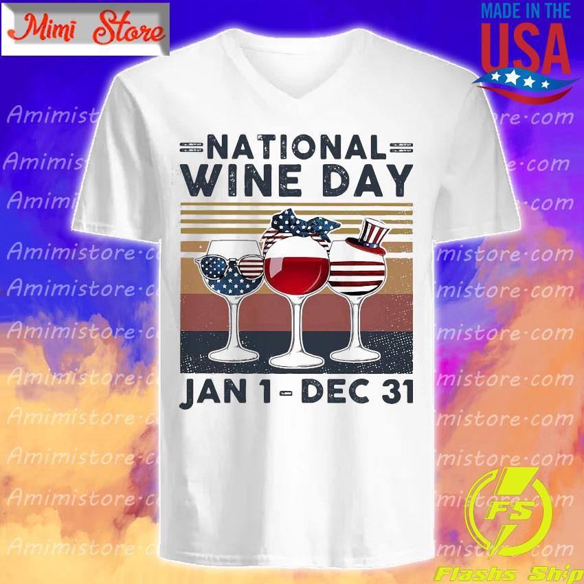 American flag Glass nation wine day Jan 1 dec 31 s V-Neck