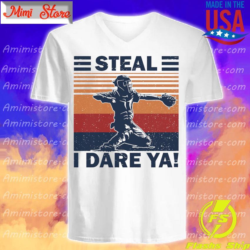 Baseball Steal i dare Ya vintage s V-Neck