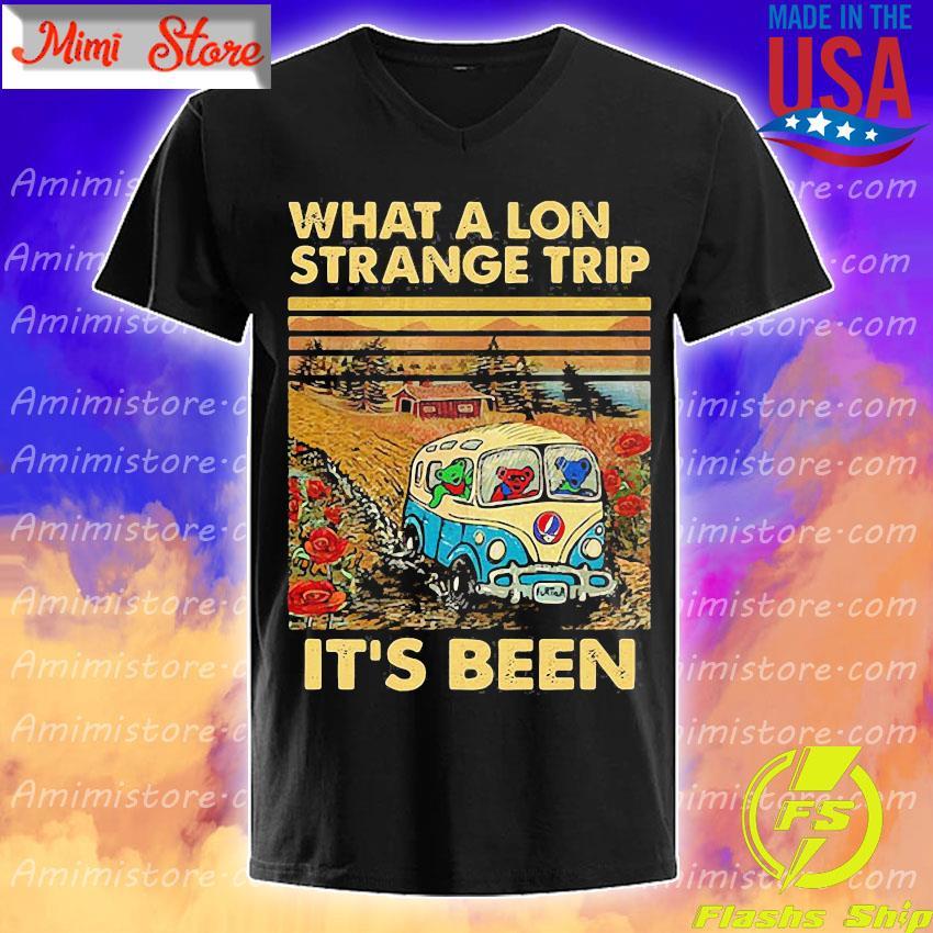 Bear Deadhead driver what a lon strange trip it's been vintage s V-Neck