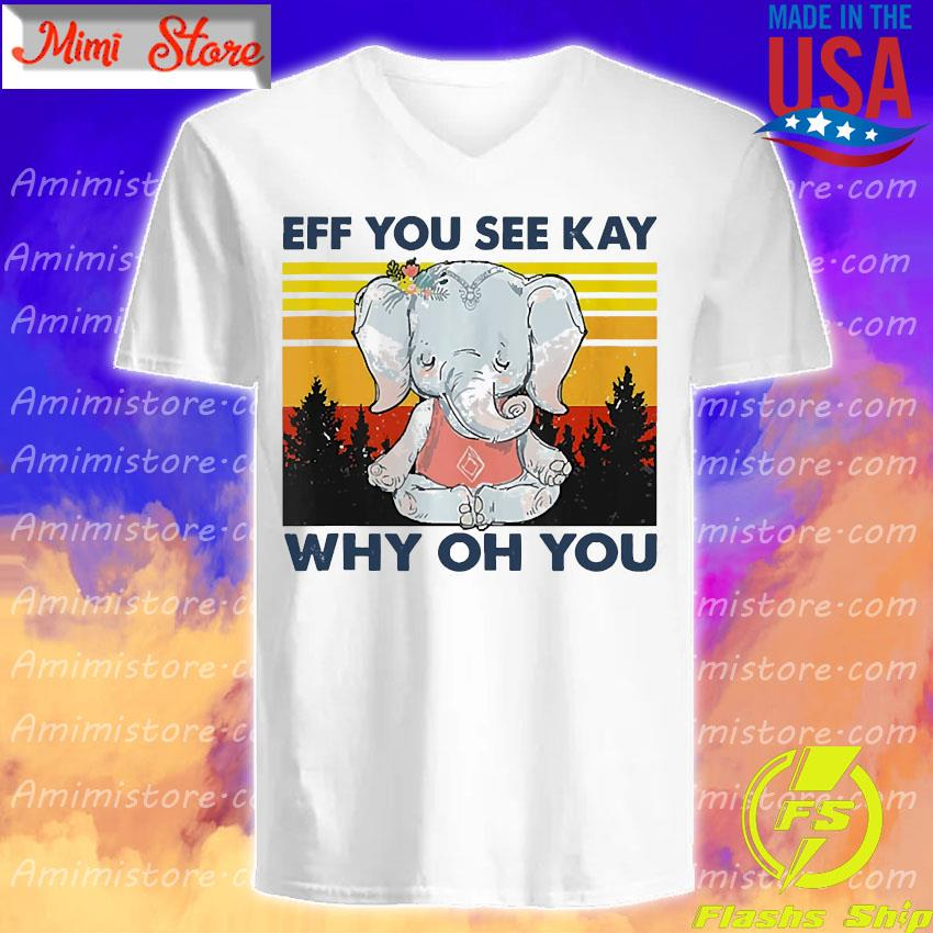 Elephant yoga eff you see kay why oh you vintage s V-Neck