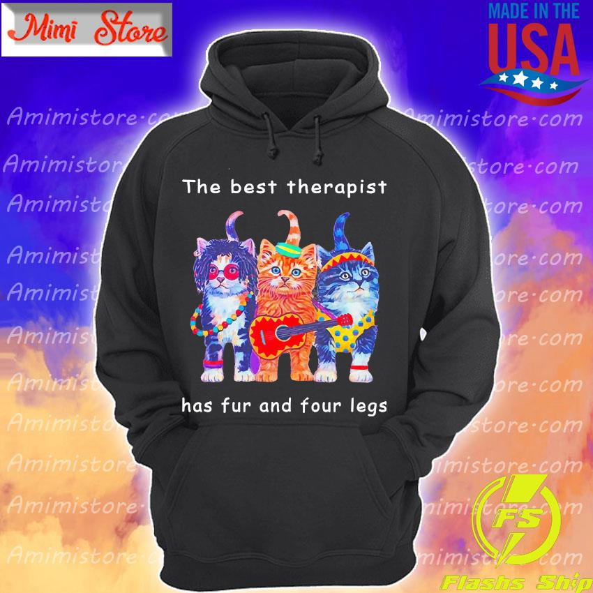 Happy Cat the best therapist has fur and four legs s Hoodie