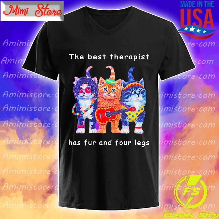 Happy Cat the best therapist has fur and four legs s V-Neck