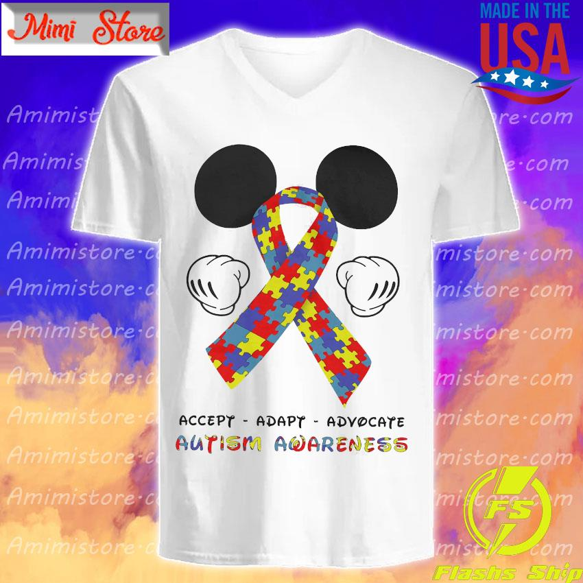 LGBT Mickey Mouse accept adapt advocate autism awareness s V-Neck