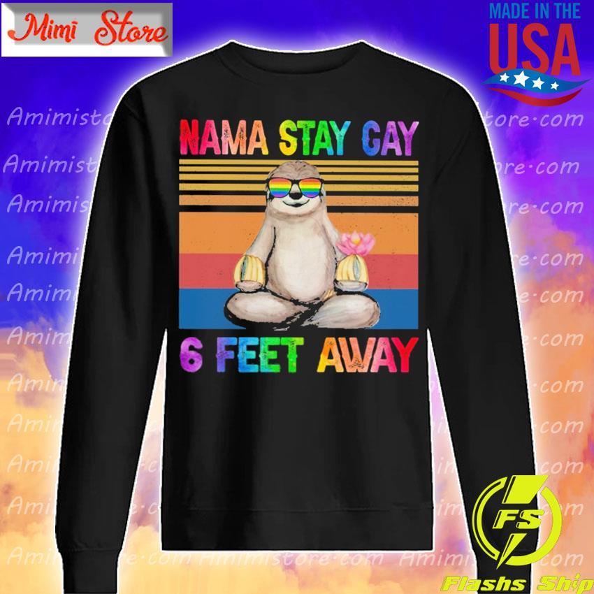 LGBT Sloth Namastay cay 6 feet away vintage s Sweatshirt