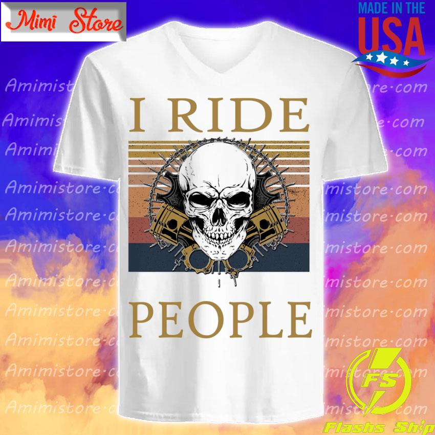 Skull I ride people vintage s V-Neck