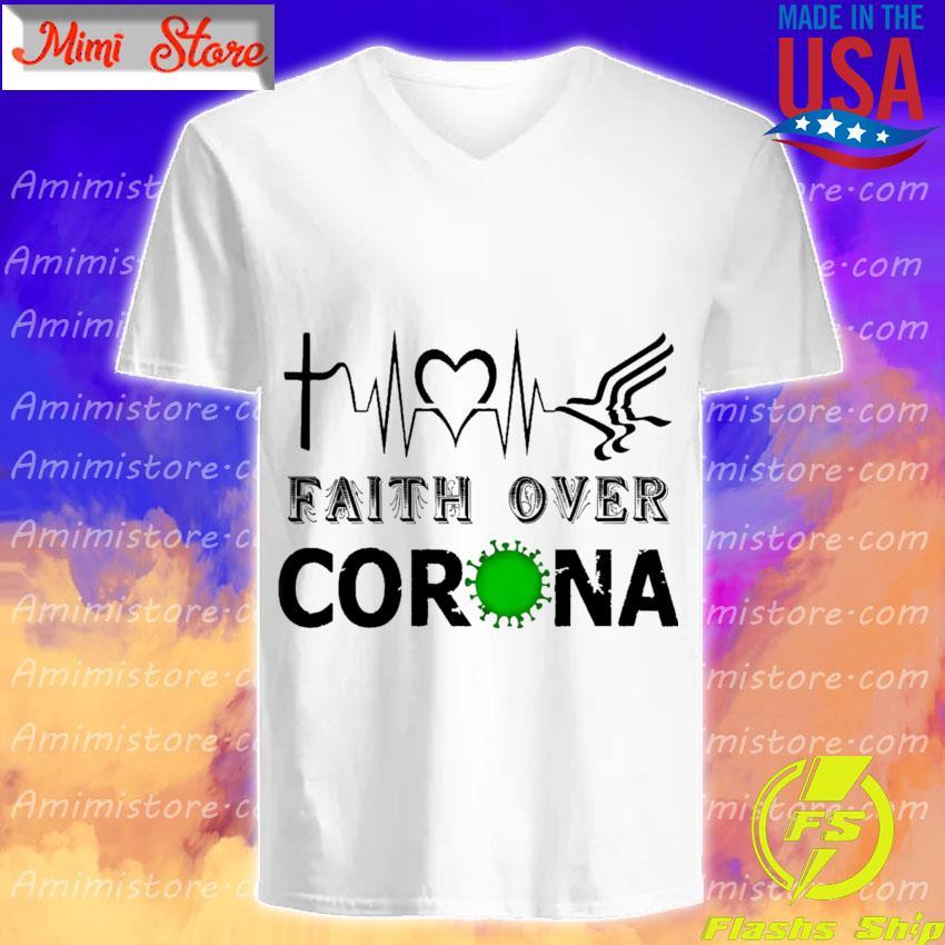 Heartbeat Faith over Corona s V-Neck