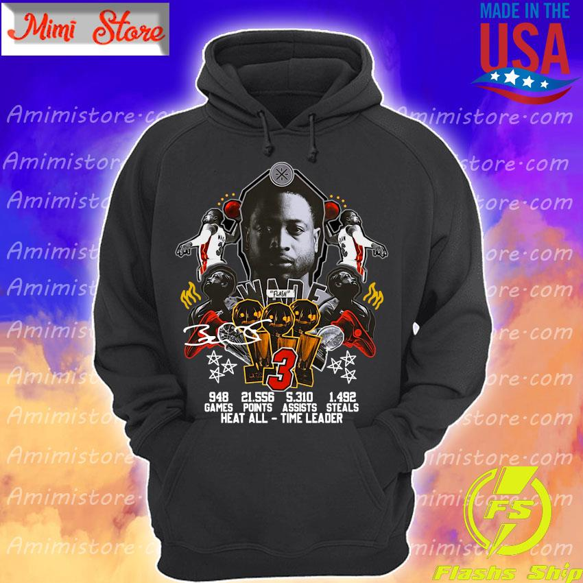 #3 Wade Basketball games points steals heat all time leader signature s Hoodie