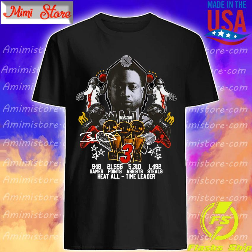 #3 Wade Basketball games points steals heat all time leader signature shirt
