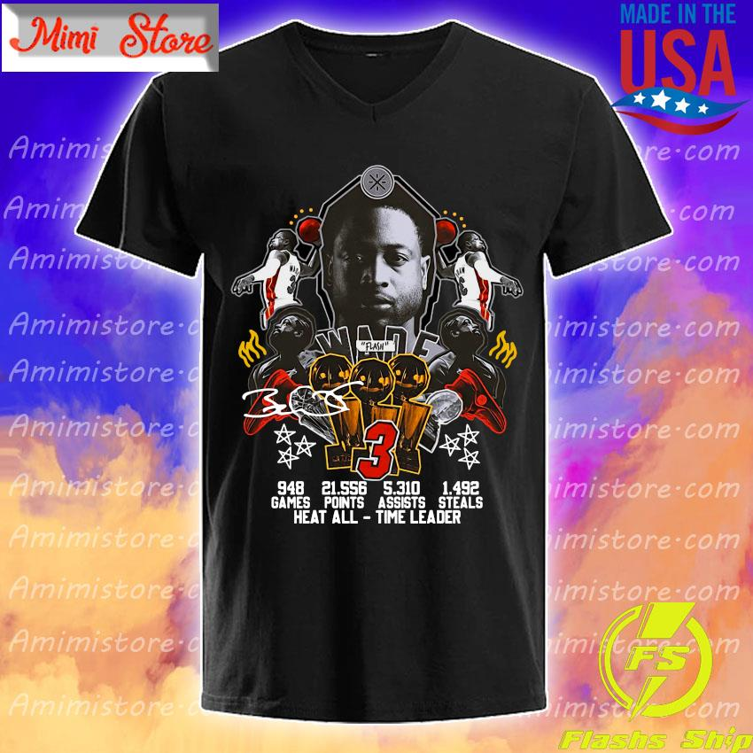 #3 Wade Basketball games points steals heat all time leader signature s V-Neck