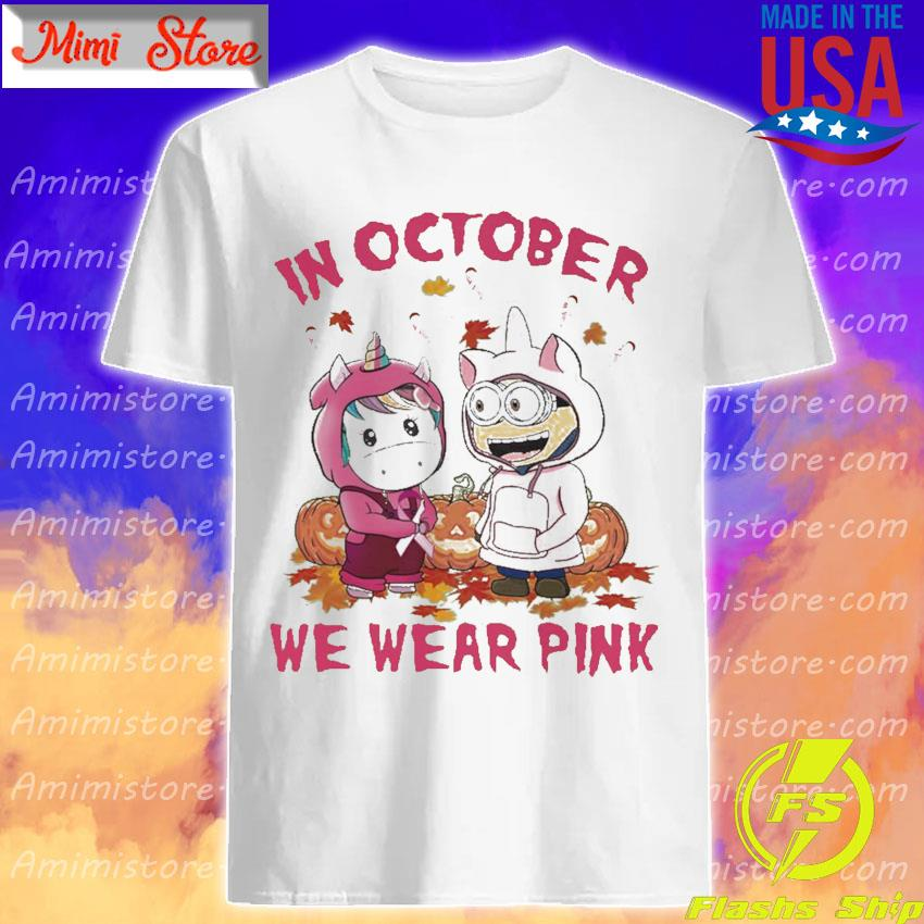 Baby Unicorn and baby Minion pumpkin in October we wear pink Halloween shirt
