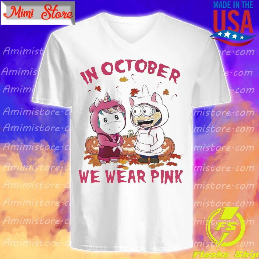 Baby Unicorn and baby Minion pumpkin in October we wear pink Halloween s V-Neck