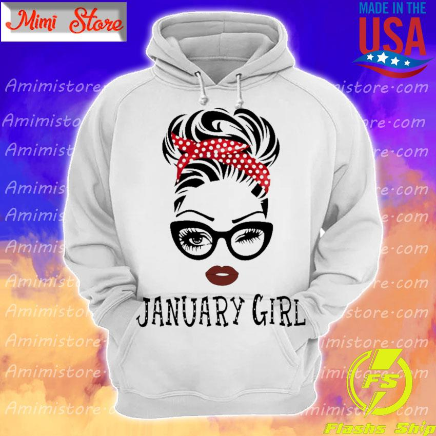 Black Woman with glasses January Girl s Hoodie