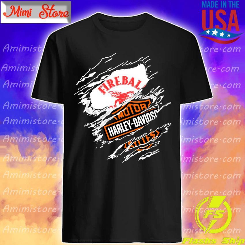 Blood inside me Fireball Cinnamon Whisky Motor Harley-Davidson shirt