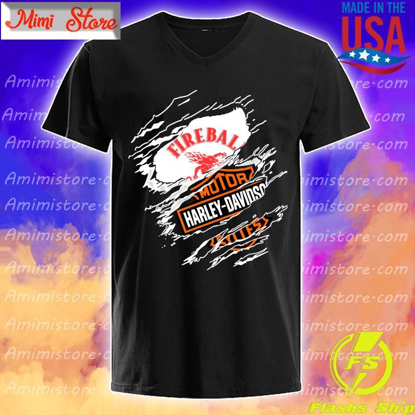Blood inside me Fireball Cinnamon Whisky Motor Harley-Davidson s V-Neck