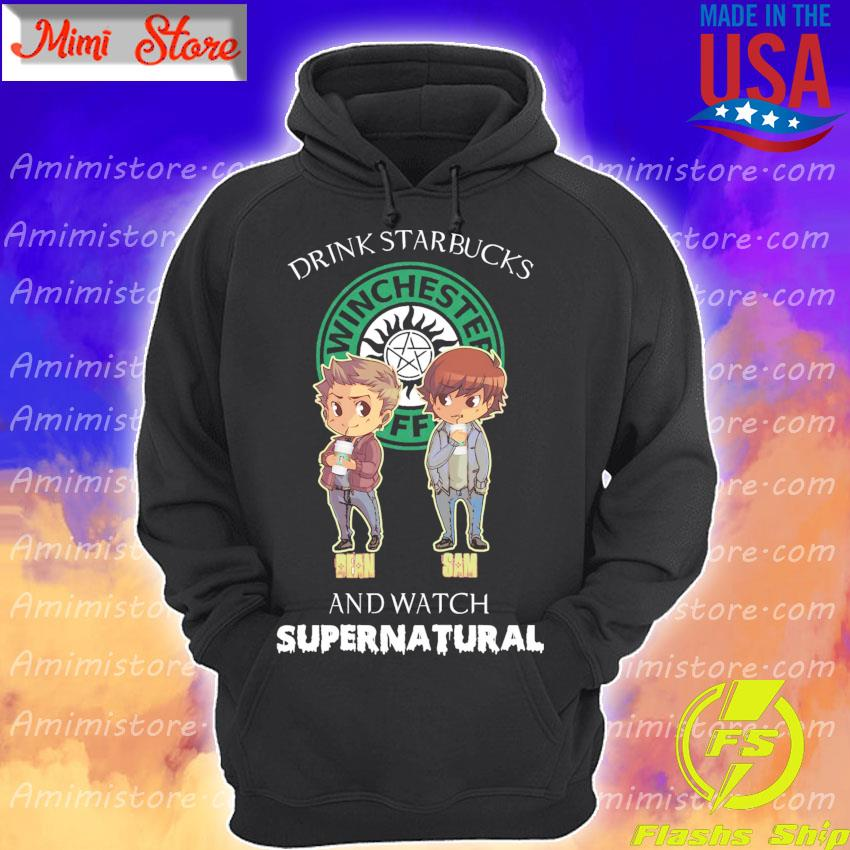 Chibi Dean and Sam Drink Starbucks and watch Supernatural s Hoodie