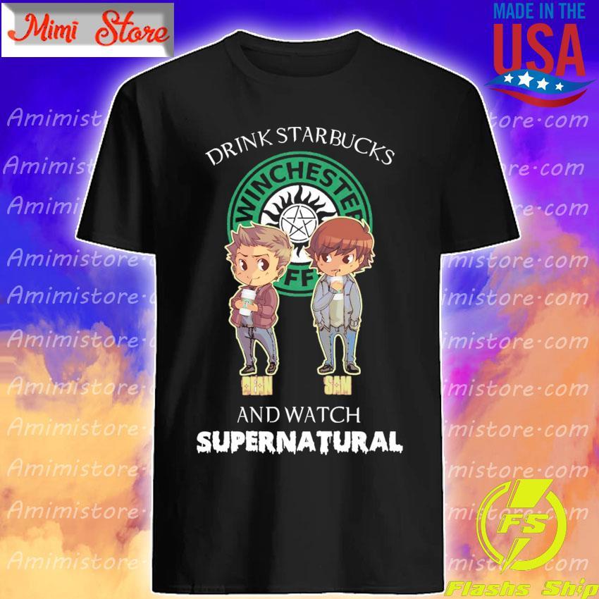 Chibi Dean and Sam Drink Starbucks and watch Supernatural shirt