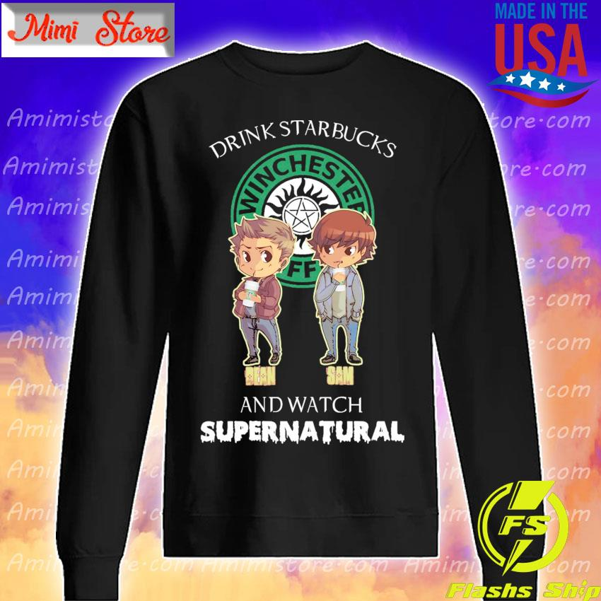 Chibi Dean and Sam Drink Starbucks and watch Supernatural s Sweatshirt