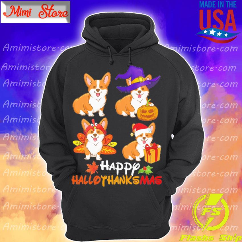 Corgi dogs Happy Hallothanksmas s Hoodie