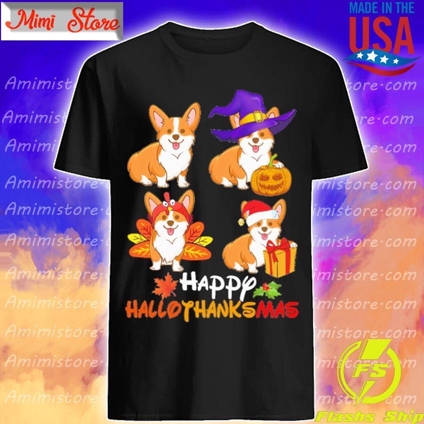 Corgi dogs Happy Hallothanksmas shirt