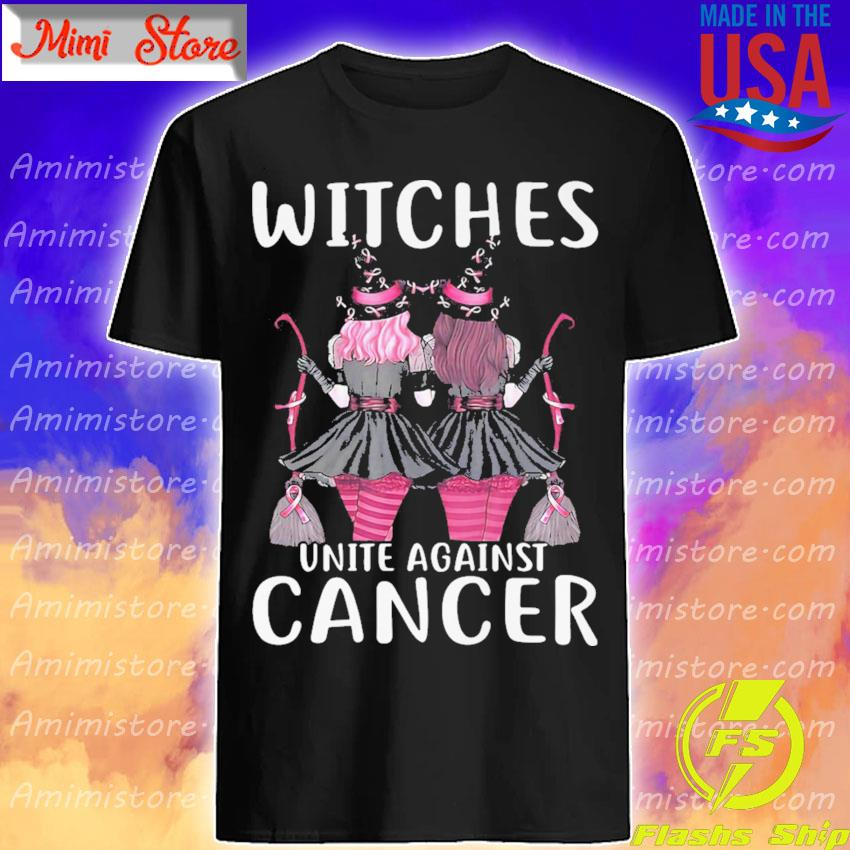 Girls Witches Autism pink unite against cancer shirt