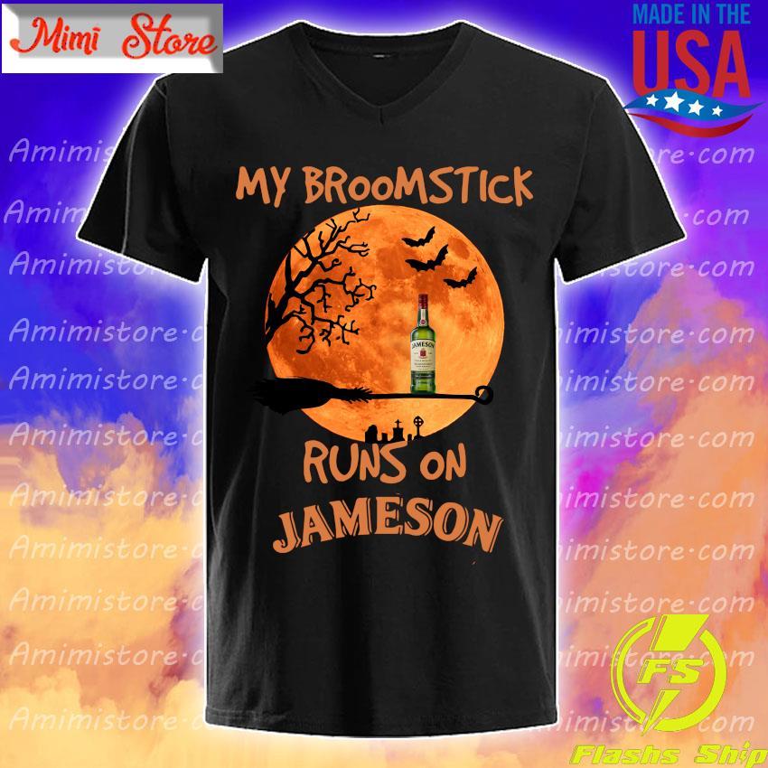 Halloween My broomstick runs on Jameson Irish Whiskey s V-Neck