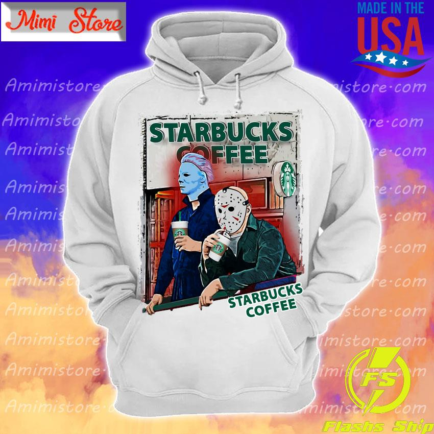 Jason Voorhees and Michael Myers drink Starbucks Coffee s Hoodie