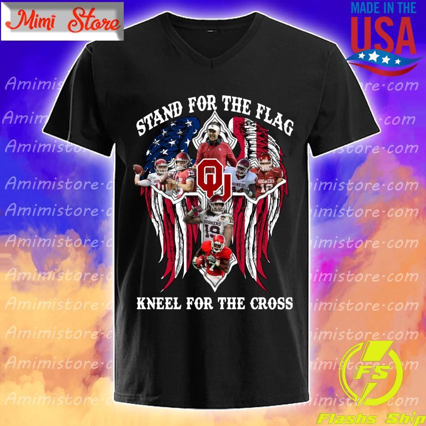 Oklahoma Sooners Stand for the flag kneel for the cross s V-Neck