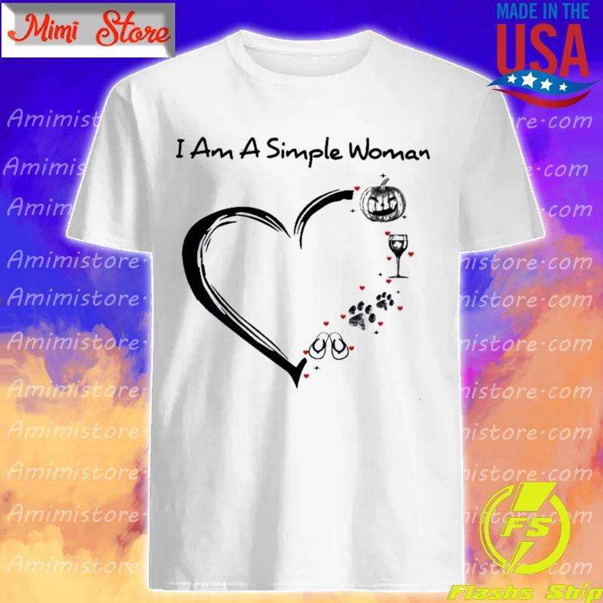 Pumpkin Wine Paw Flip Flop I am a simple Woman heart Halloween shirt