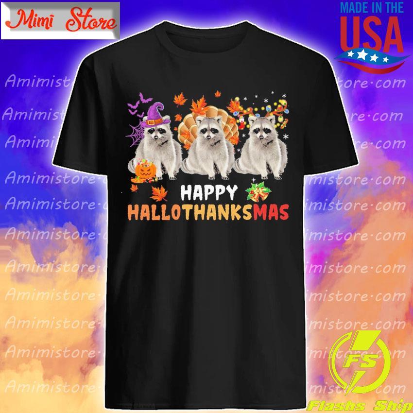 Raccoons Turkey Happy Hallothanksmas shirt
