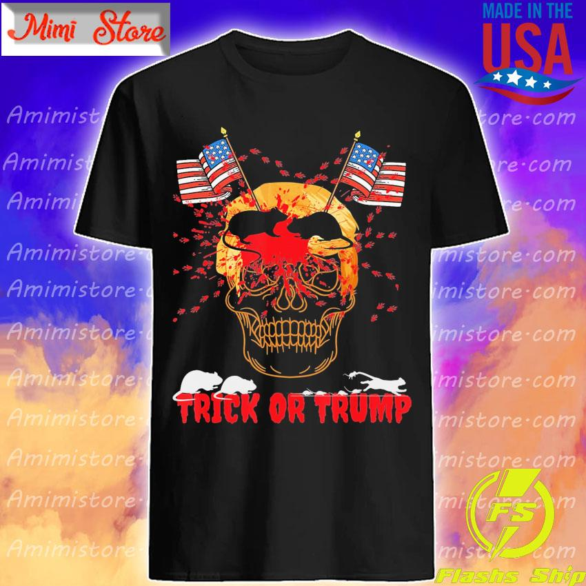 Skull American flag Mouses Trick or Trump shirt