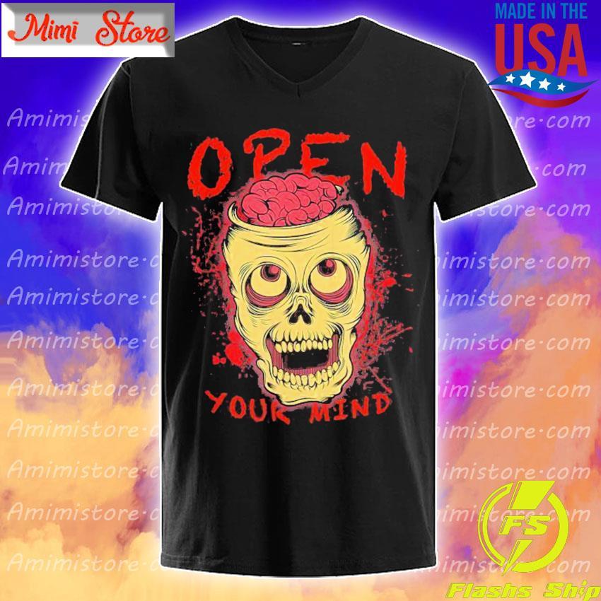 Skull Open Your Mind Halloween s V-Neck