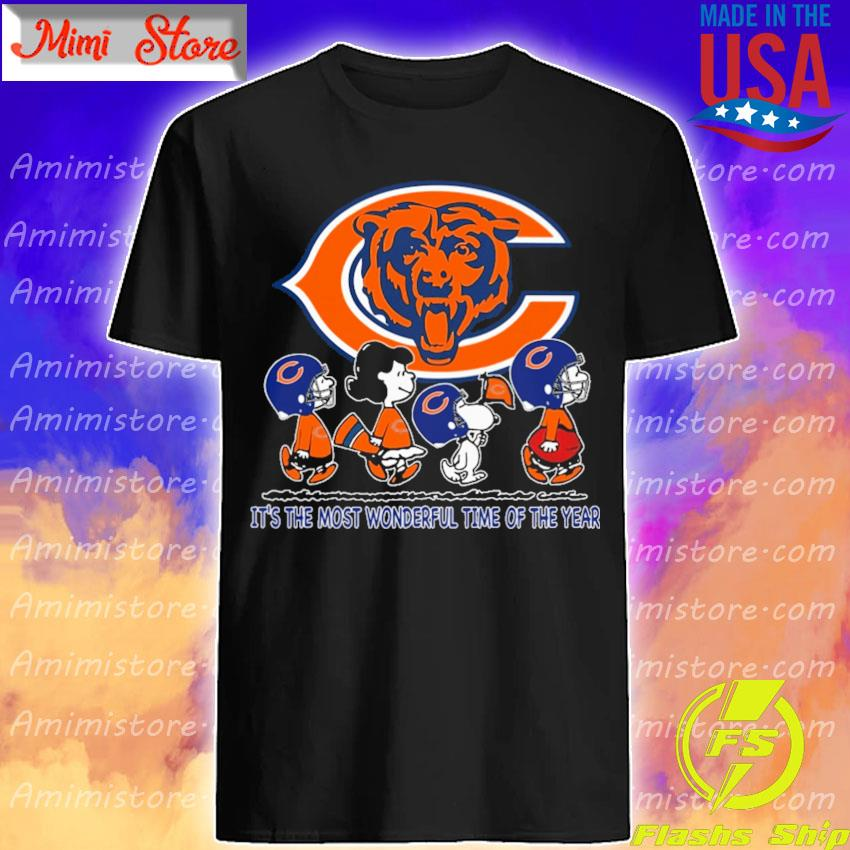 The Peanuts characters Chicago Bears It's the most wonderful time of the year abbey road shirt