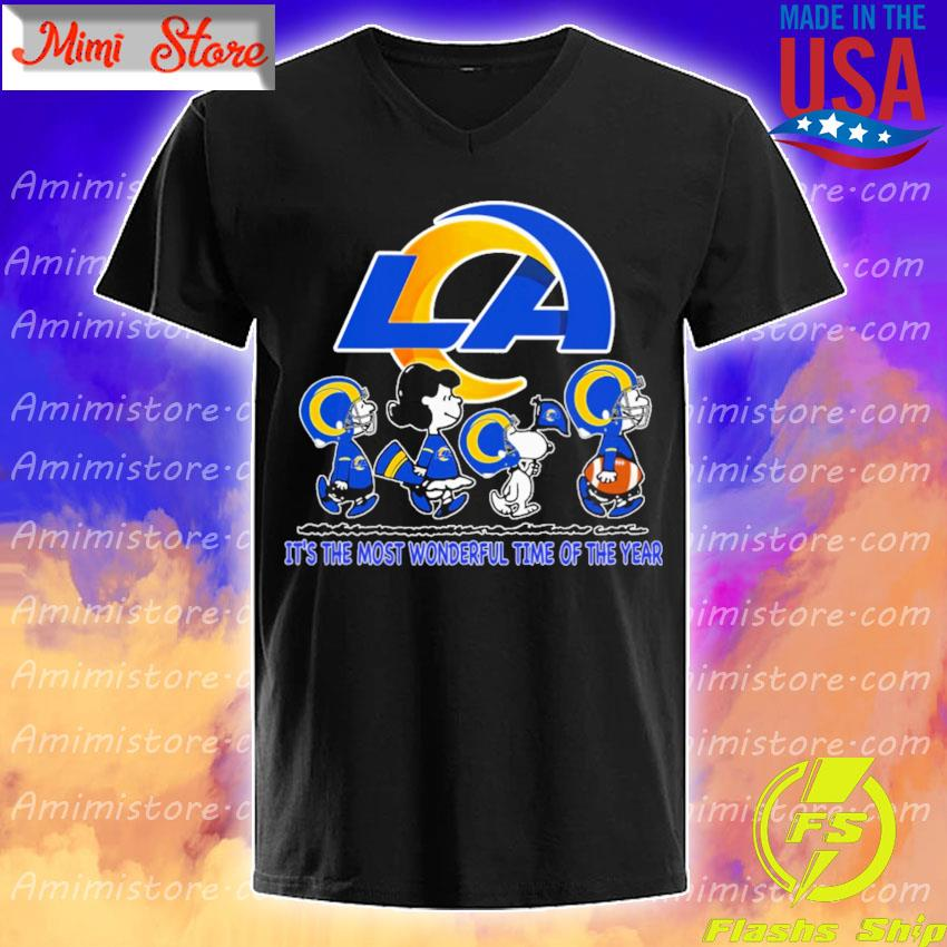 The Peanuts characters Los Angeles Rams it's the most wonderful time of the year s V-Neck