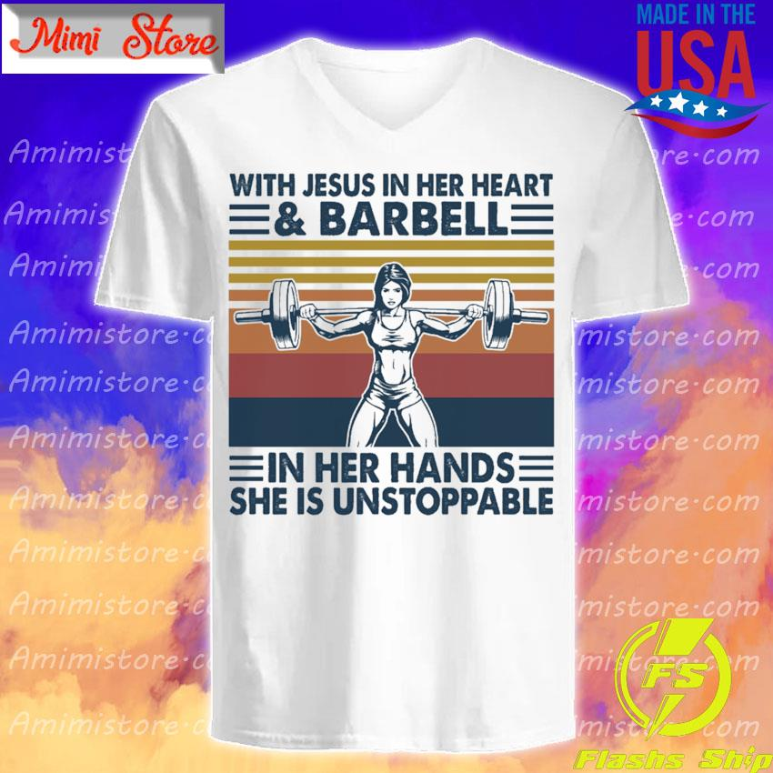 With Jesus in her heart and Barbell in her hands she is unstoppable vintage s V-Neck