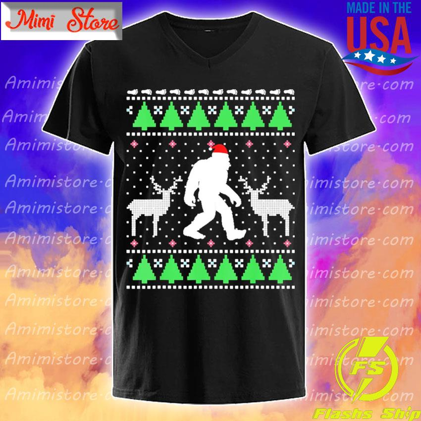 Bigfoot Santa Hat Reindeer Ugly Christmas shirt