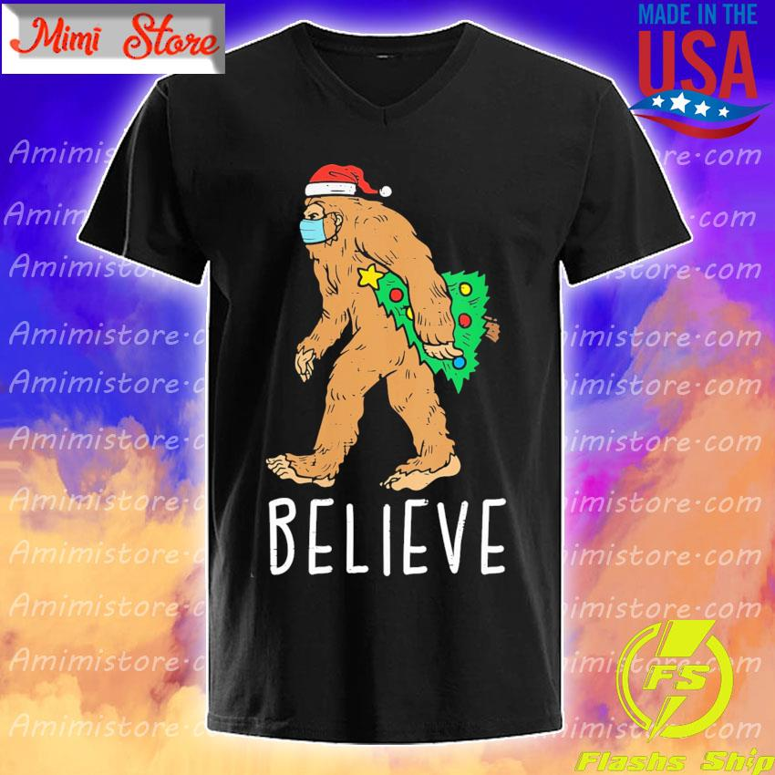 Bigfoot Sasquatch Mask Christmas Tree shirt