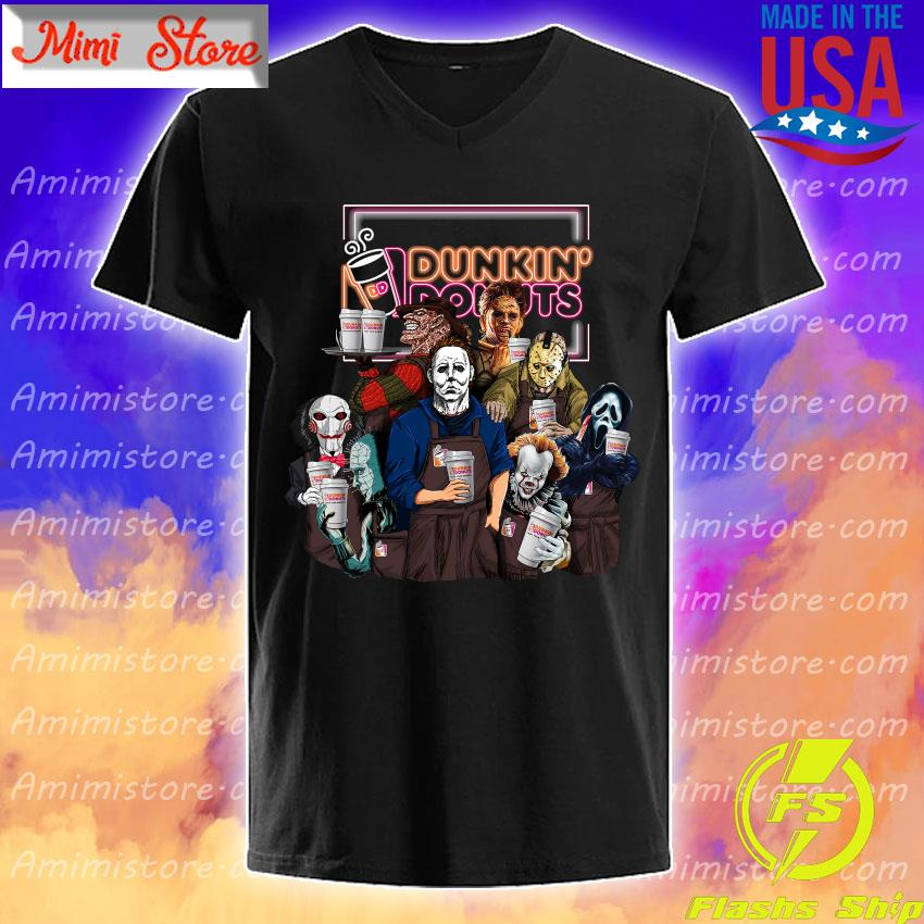Horror movie character drink Dunkin' Donuts Halloween shirt