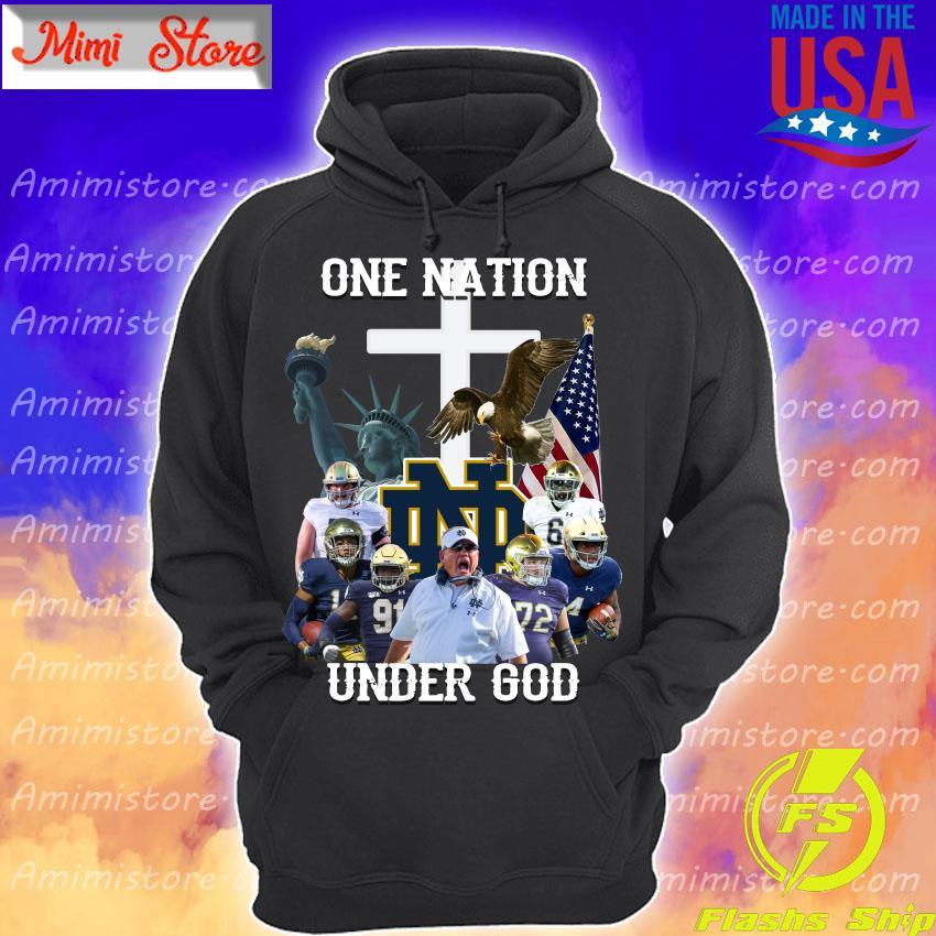 Notre Dame Fighting Irish football One Nation under God cross s Hoodie