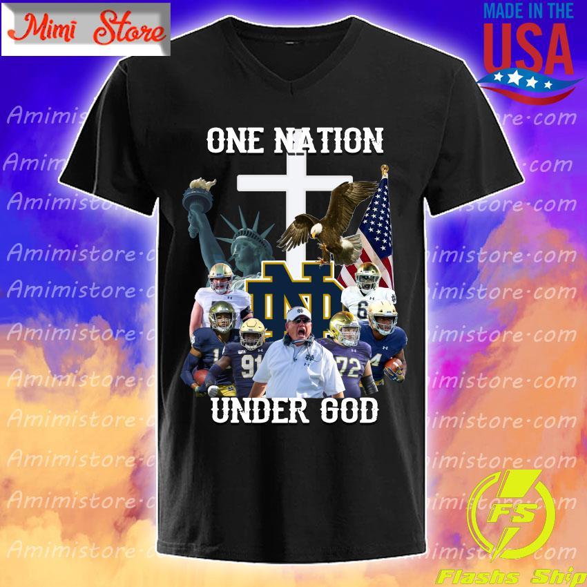 Notre Dame Fighting Irish football One Nation under God cross shirt
