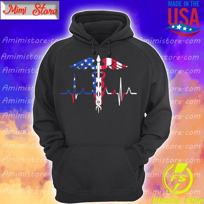 Nurse heartbeat American flag s Hoodie