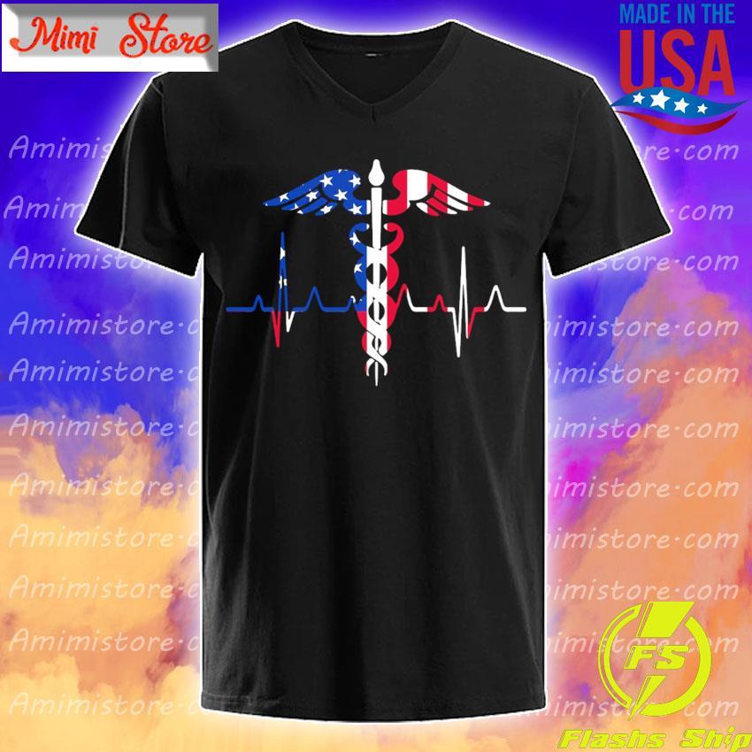 Nurse heartbeat American flag shirt