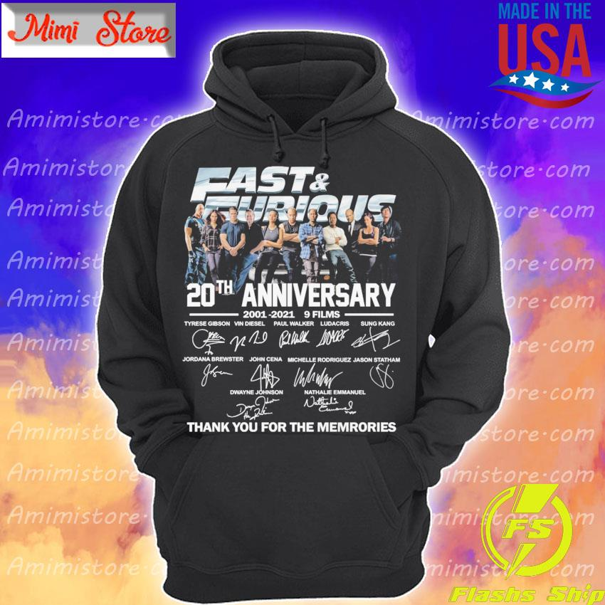 Official Fast and Furious 20th anniversary 2001 2021 9 Films thank you for the memories signatures s Hoodie